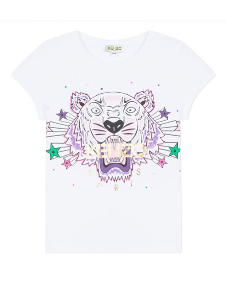 Image 1 of 1: Tiger & Stars Graphic Short-Sleeve Tee, Size 2-6