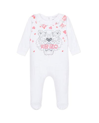 Tiger & Flower Print Ruffle-Trim Footie Pajamas  Size 3-9 Months