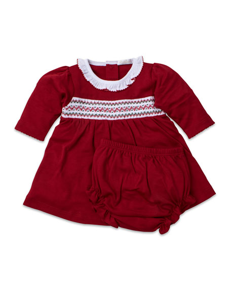 Smocked Long-Sleeve Holiday Dress w/ Bloomers, Size 0-18 Months