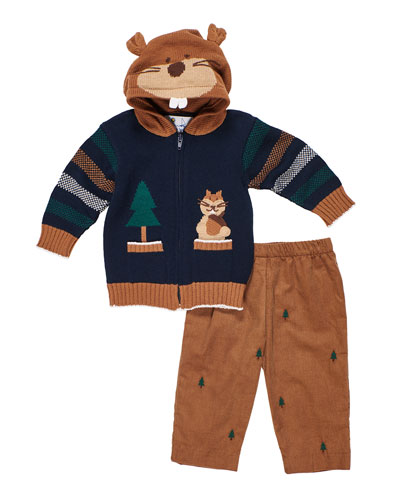 Hooded Zip-Up Squirrel Sweater w/ Tree Embroidered Pants  Size 2-4