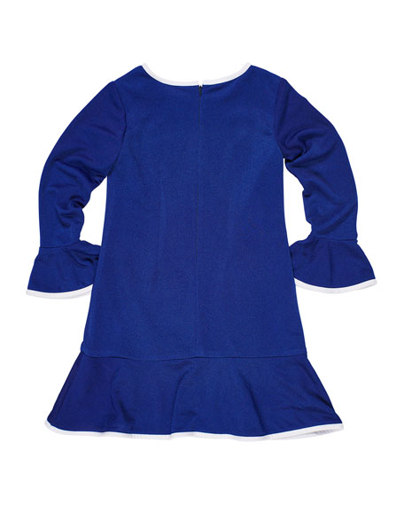 Bell-Sleeve Techno Crepe Dress, Size 7-14