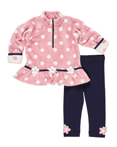 Plush Polka-Dot Fleece Top w/ Matching Leggings  Size 2-6X