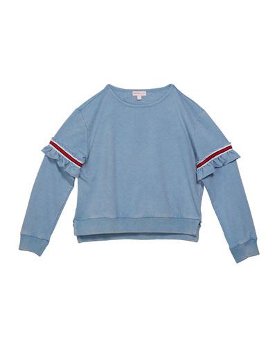 Girl's Varsity Striped Ruffle Trim Sweatshirt  Size S-XL