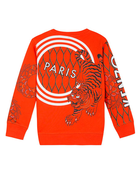 Multi-Iconic Tiger & Dragon Graphic Sweatshirt, Size 8-12