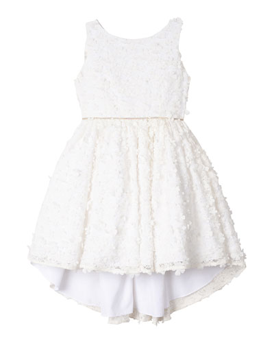 Flower Lace High-Low Dress  Size 7-16
