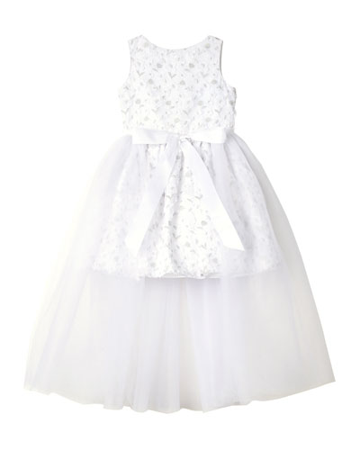 Short Lace Dress w/ Open Tulle Front Overlay  Size 7-16
