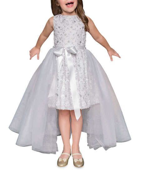Short Lace Dress w/ Open Tulle Front Overlay, Size 4-6X