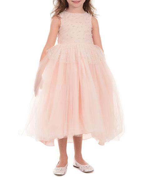 Peplum High-Low Maxi Dress w/ Pearly Bead Trim, Size 4-6X