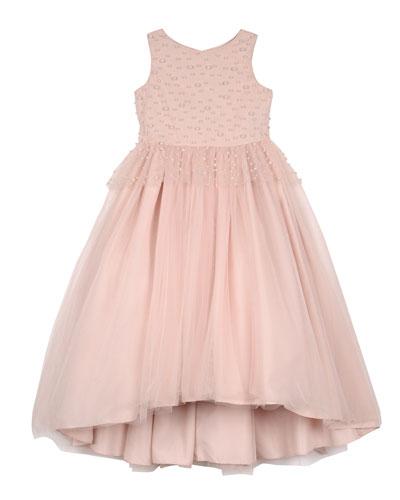 Peplum High-Low Maxi Dress w/ Pearly Bead Trim  Size 7-16