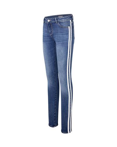 Girl's Chloe Skinny Denim Jeans w/ Varsity Striping  Size 7-16