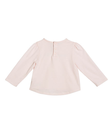 Girl's Long-Sleeve Logo Tee, Size 12M-3