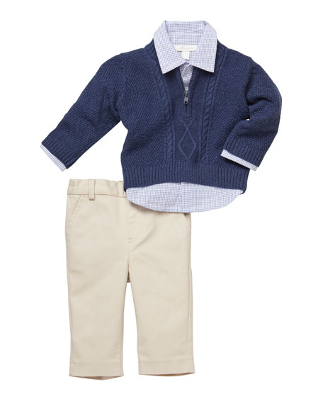 Cable-Knit Sweater & Gingham Shirt w/ Khaki Pants, Size 3-24 Months
