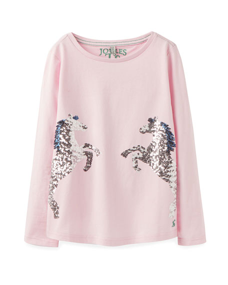 Image 1 of 1: Ava Sequin Horses Tee, Size 3-12