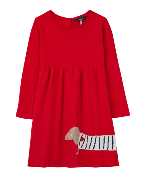 Image 1 of 1: Girl's Millicent Dog Intarsia Dress, Size 2-6