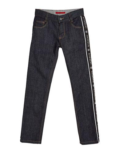 Boy's Logo Trim Denim Jeans  Size 4-10