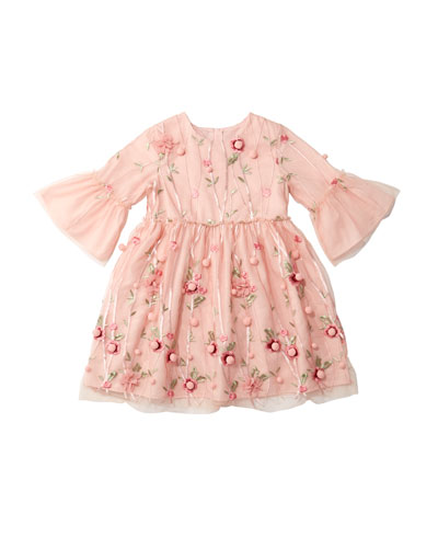 3D Flower Pompom Embroidered Dress  Size 4-8