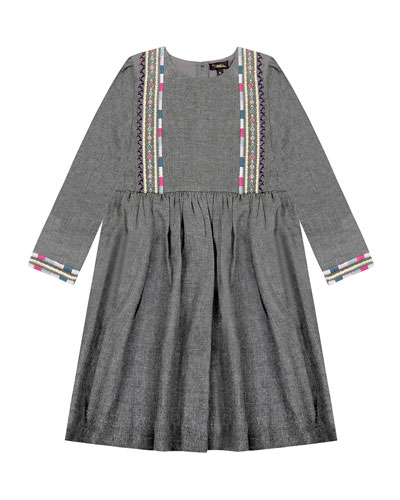 Girl's Claudia Embroidered 3/4-Sleeve Dress  Size 4-6