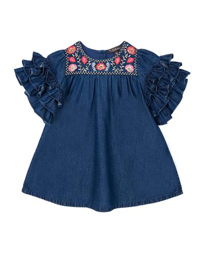 Girl's Regina Frill Sleeve Dress  Size 12-24 Months