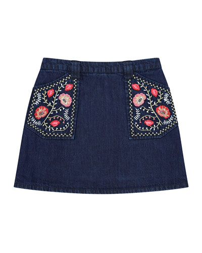 Rhea Denim Embroidered A-Line Skirt  Size 8-12