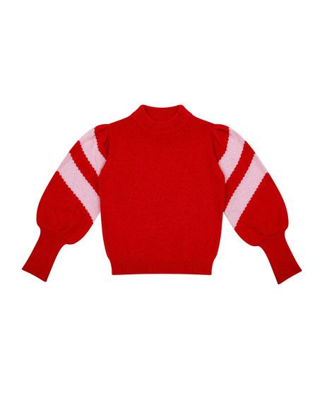Stella Mock-Neck Balloon-Sleeve Sweater, Size 6-8