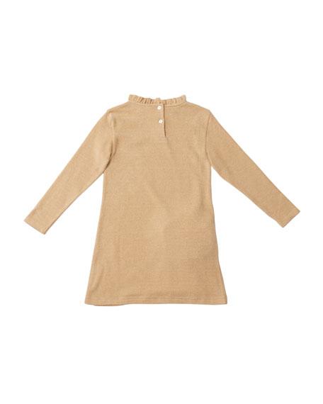 Girl's Mimi Long-Sleeve Dress w/ Attached Faux Fur Crossbody Bag, Size 4-8