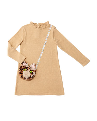 Girl's Mimi Long-Sleeve Dress w/ Attached Faux Fur Crossbody Bag  Size 4-8