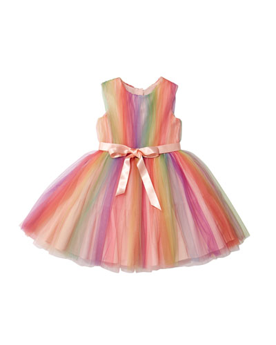 Rainbow Tulle Sleeveless Dress  Size 10-12