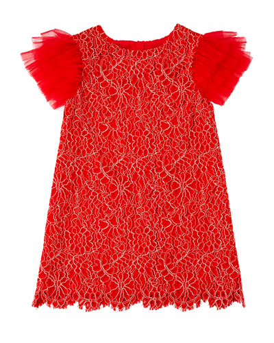 Woven Lace Dress w/ Tulle Flutter Sleeves  Size 4-8