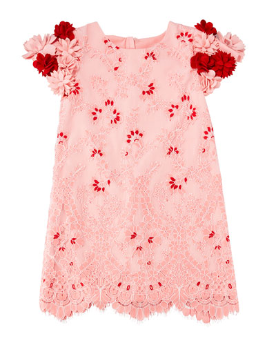 Lace Dress w/ 3D Felt Flower Sleeves  Size 4-8