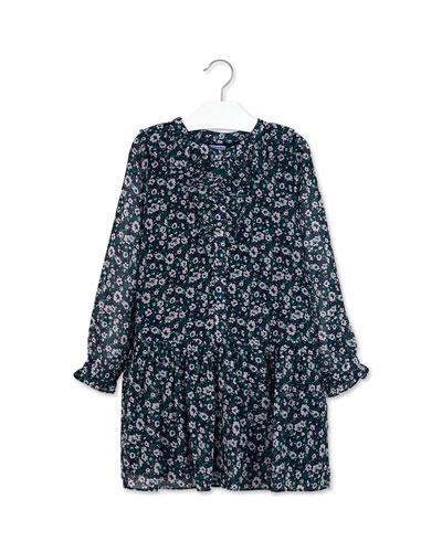 Girl's Floral Print Ruffle Trim Dress  Size 8-16
