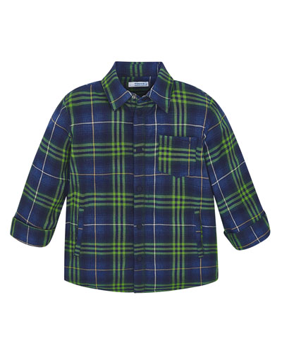 Boy's Fleece Lined Plaid Shirt  Size 4-8