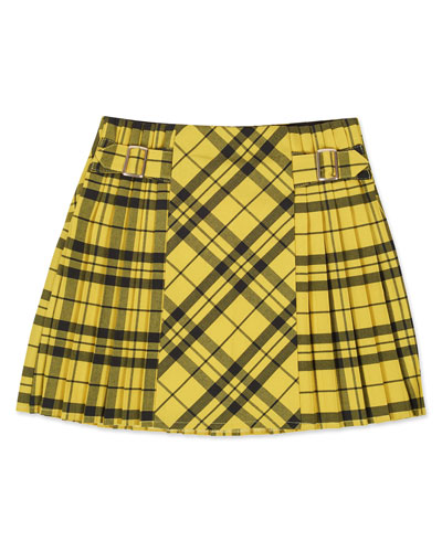Girl's Patchwork Check Pleated Mini Skirt  Size 8-16
