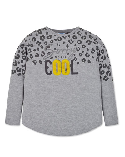 Girl's Sorry We Are Cool Leopard Print Tee  Size 8-16