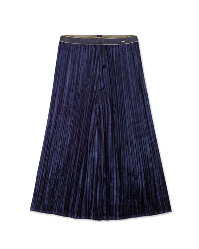 Girl's Pleated Velvet Culottes Skort  Size 8-16