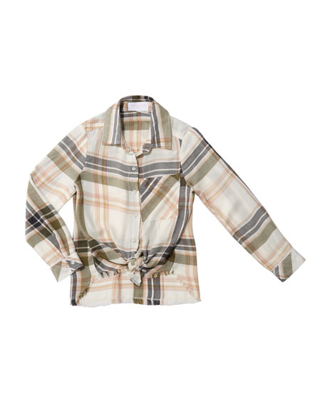 Frayed Tie-Front Plaid Shirt, Size 8-14