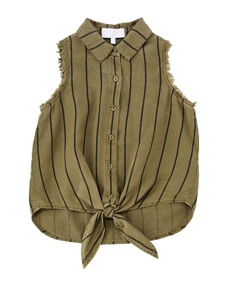 Tie-Front Frayed Sleeveless Shirt, Size 8-14