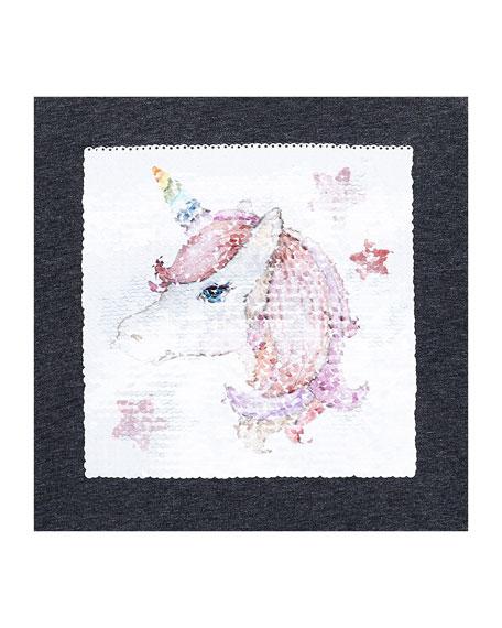 Girl's Unicorn Flip Sequin Sweater, Size 4-7