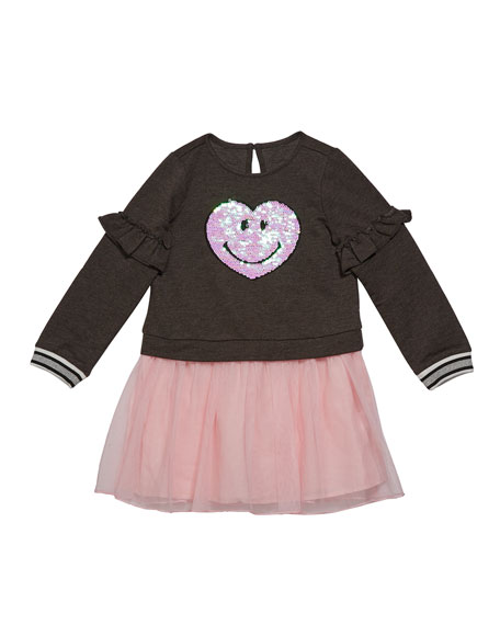 Image 1 of 1: Girl's Sequin Smiley Sweatshirt Dress w/ Tulle Skirt, Size 2-6X