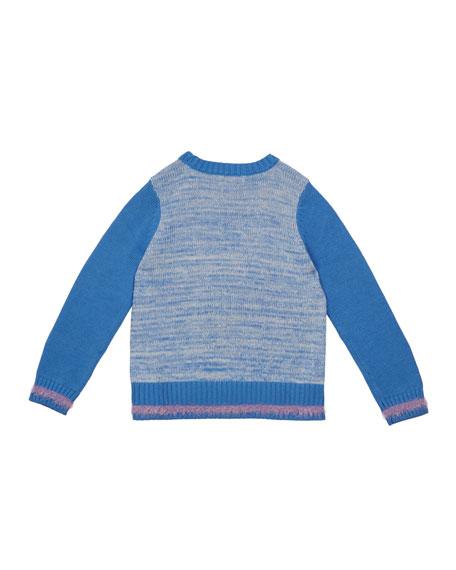Girl's Eyelash Fringe Heart Sweater, Size 2-6X