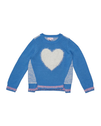 Girl's Eyelash Fringe Heart Sweater  Size 2-6X