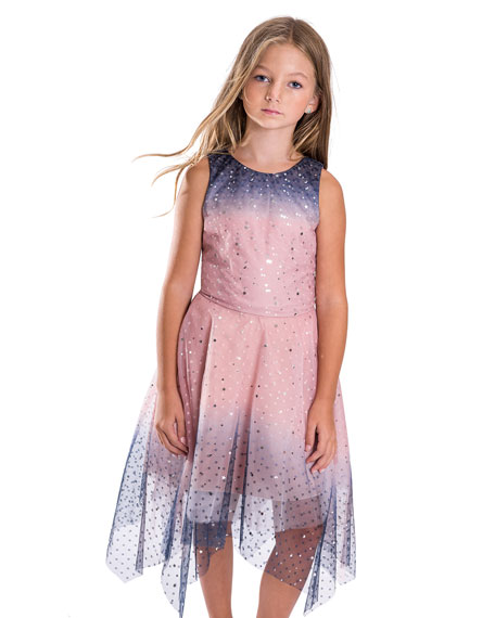 Odette Ombre Tulle Star Sequin Dress, Size 7-16