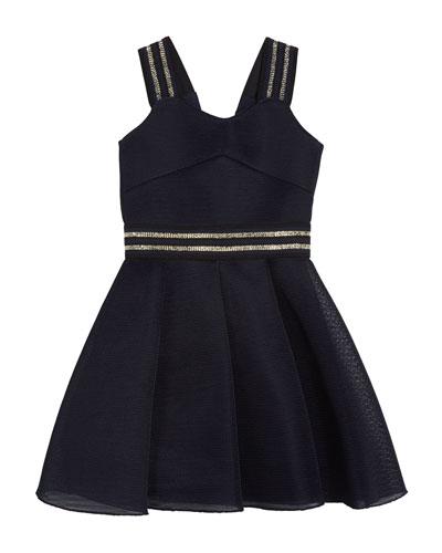 Hey Girl Swing Dress w/ Metallic Stripe Accents  Size 7-16