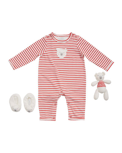 Boy's Polar Bear Romper w/ Booties & Rattle  Size 0-9 Months