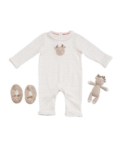 Girl's Reindeer Romper w/ Booties & Rattle  Size 0-9 Months