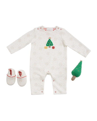 Christmas Tree Romper w/ Booties & Rattle  Size 0-9 Months
