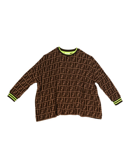 Allover FF-Print Sweater, Size 4-8