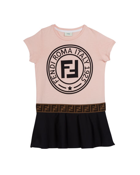 Colorblock Logo Short-Sleeve Dress, Size 4-14