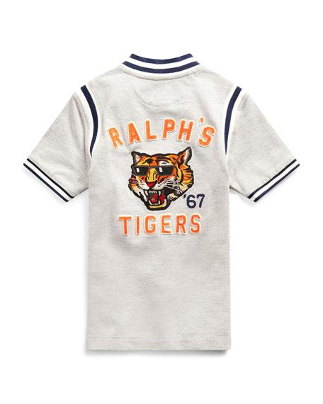 Mesh Knit Striped-Trim Shirt w/ Logo Embroidery, Size 5-7