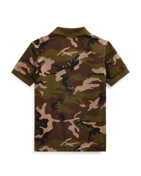Camo Mesh Polo Shirt w/ Logo Embroidery, Size 5-7