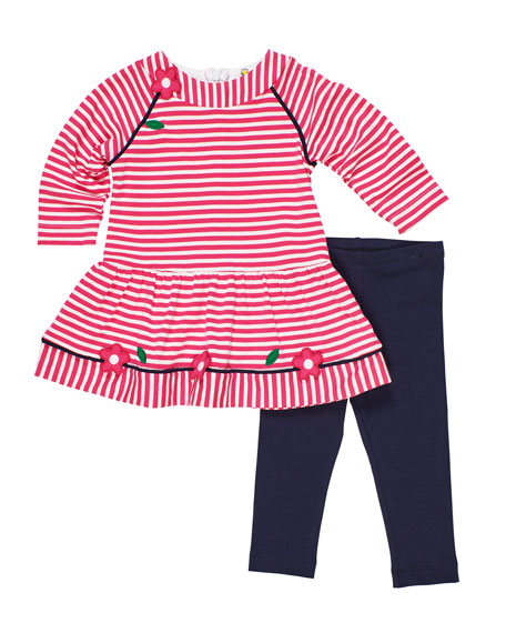 Long-Sleeve Stripe Knit Flower Applique Dress w/ Solid Leggings, Size 12-24 Months